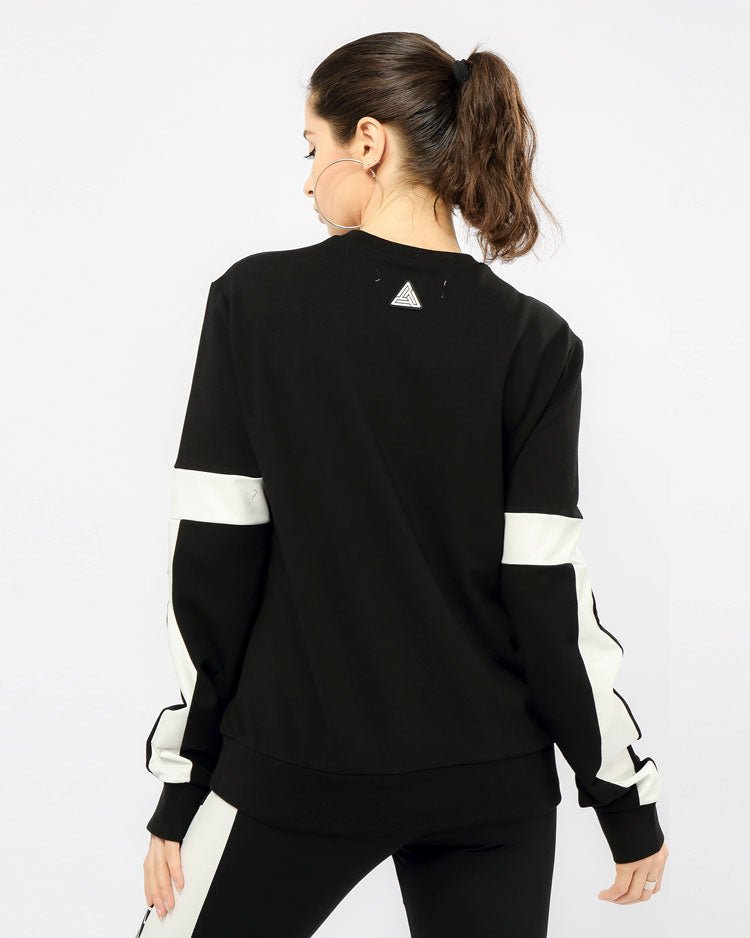 WOMEN MAZE CREWNECK TOP-COLOR: BLACK