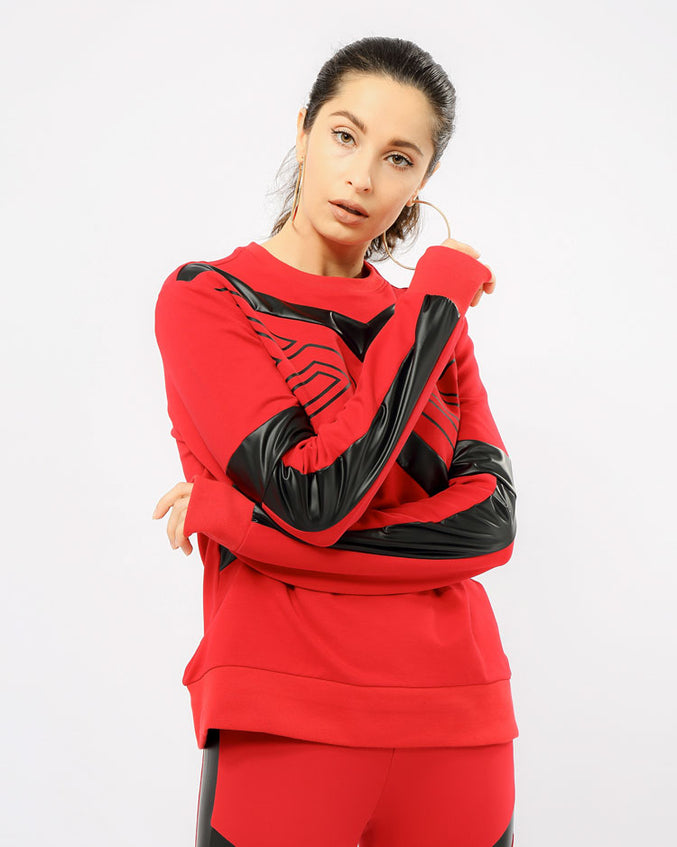 WOMEN MAZE CREWNECK TOP-COLOR: RED