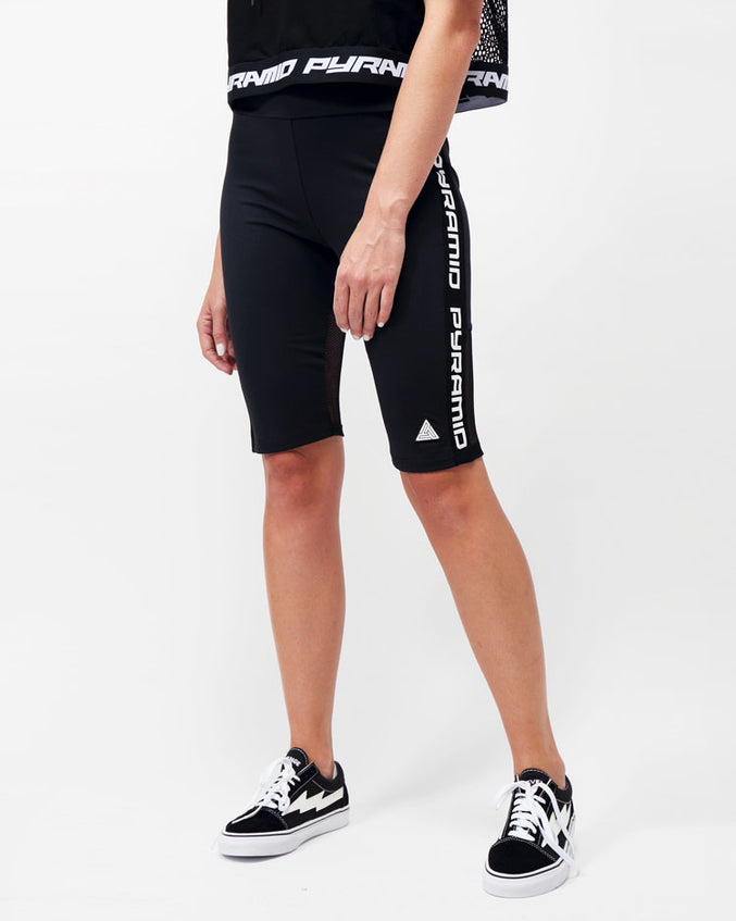 WOMENS SIDE LOGO TAPE BIKER SHORT-COLOR: BLACK