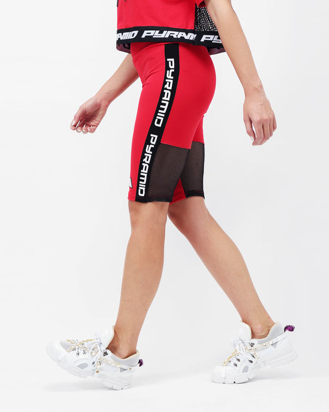 WOMENS SIDE LOGO TAPE BIKER SHORT-COLOR: RED