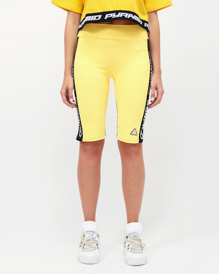 WOMENS SIDE LOGO TAPE BIKER SHORT-COLOR: YELLOW