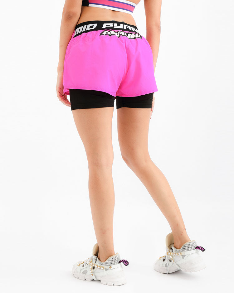 WOMENS TAPE LOGO SPORT SHORT-COLOR: PINK