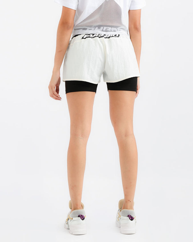 WOMENS TAPE LOGO SPORT SHORT-COLOR: WHITE