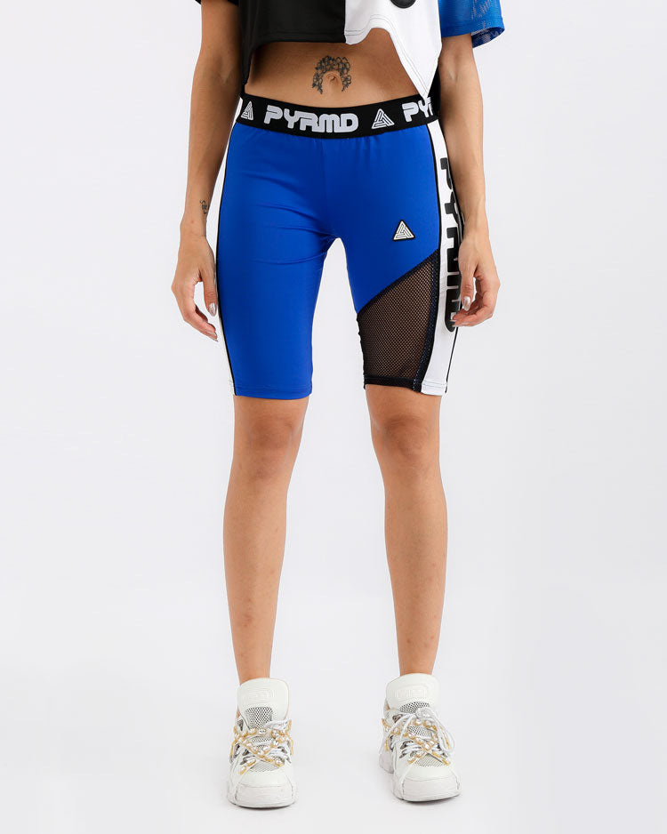 WOMENS PYRMD BIKER SHORT-COLOR: BLUE
