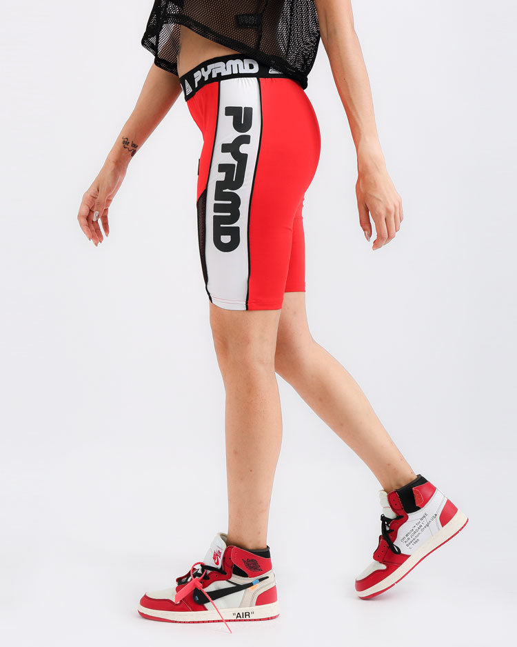 WOMENS PYRMD BIKER SHORT-COLOR: RED