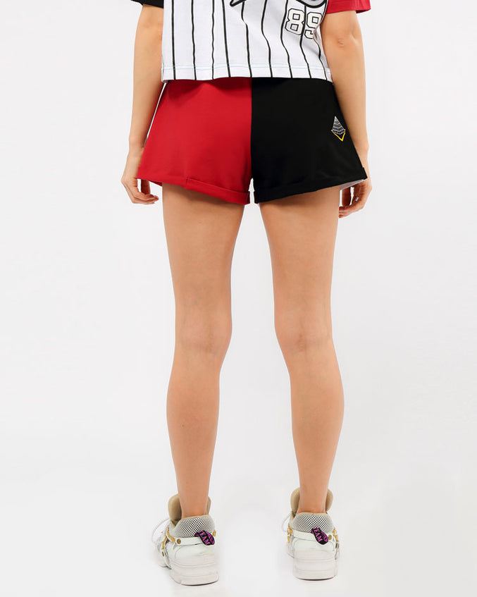 WOMENS B BALL MASH CUFF SHORTS-COLOR: BURGUNDY