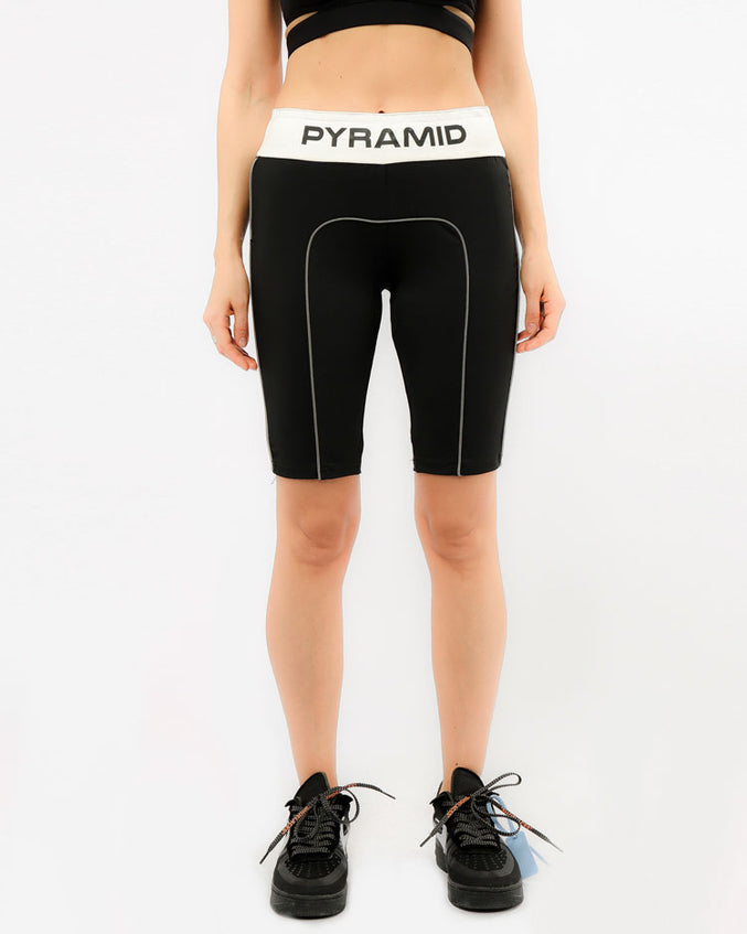 WOMENS REFLECTIVE BIKER SHORTS-COLOR: BLACK