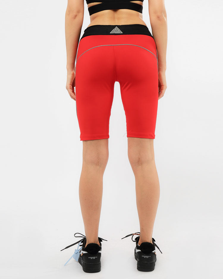 WOMENS REFLECTIVE BIKER SHORTS-COLOR: RED