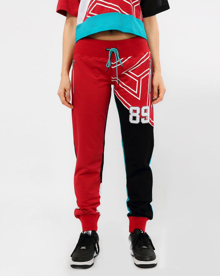 WOMENS B BALL MASH JOGGERS-COLOR: BURGUNDY
