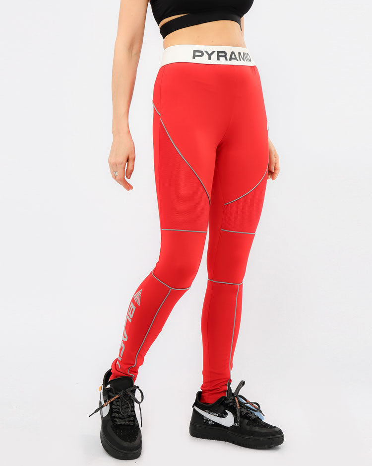 WOMENS REFLECTIVE LEGGINGS-COLOR: RED