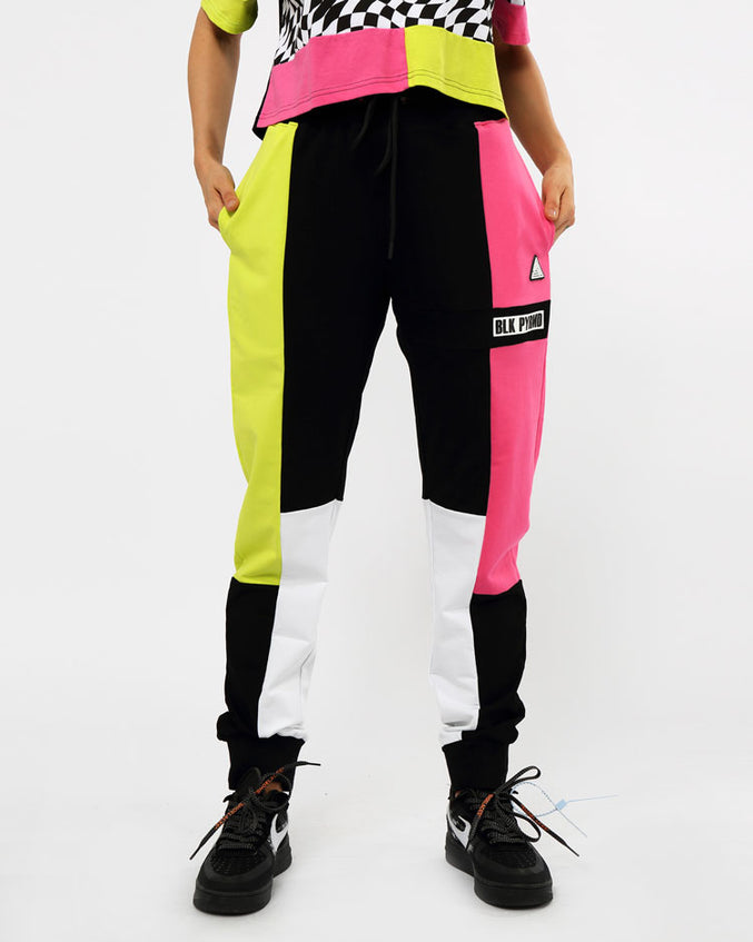 WOMENS OPTICAL COLORBLOCK JOGGERS-COLOR: BLACK