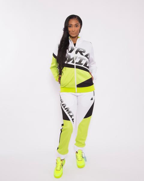 WOEMN PYRAMID RACEWAY COLORBLOCK JOGGERS-COLOR: WHITE