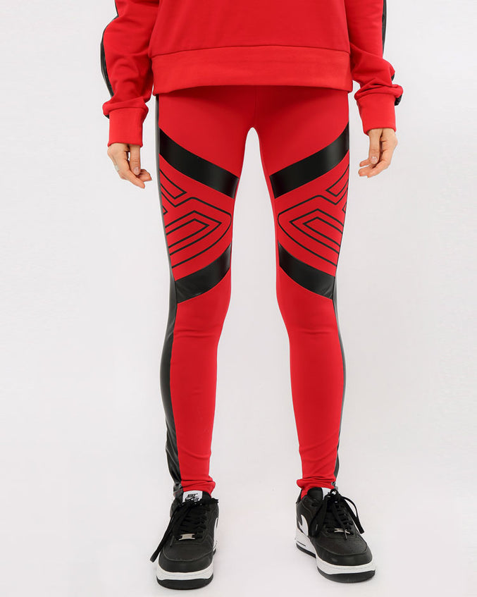 WOMEN MAZE LEGGINGS-COLOR: RED