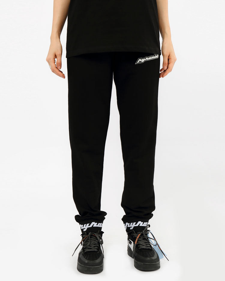 WOMEN CORE 3D RUBBER PATCH JOGGERS-COLOR: BLACK