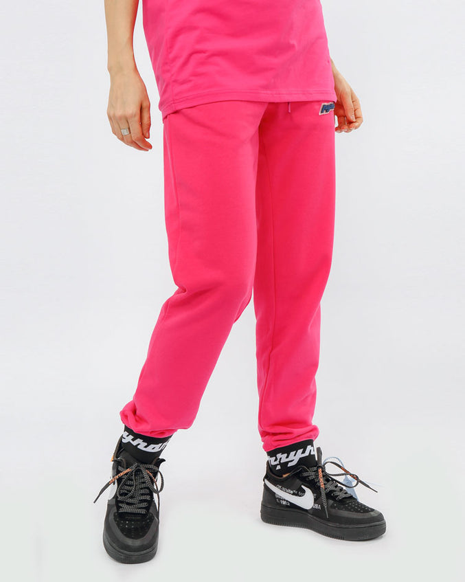 WOMEN CORE 3D RUBBER PATCH JOGGERS-COLOR: PINK