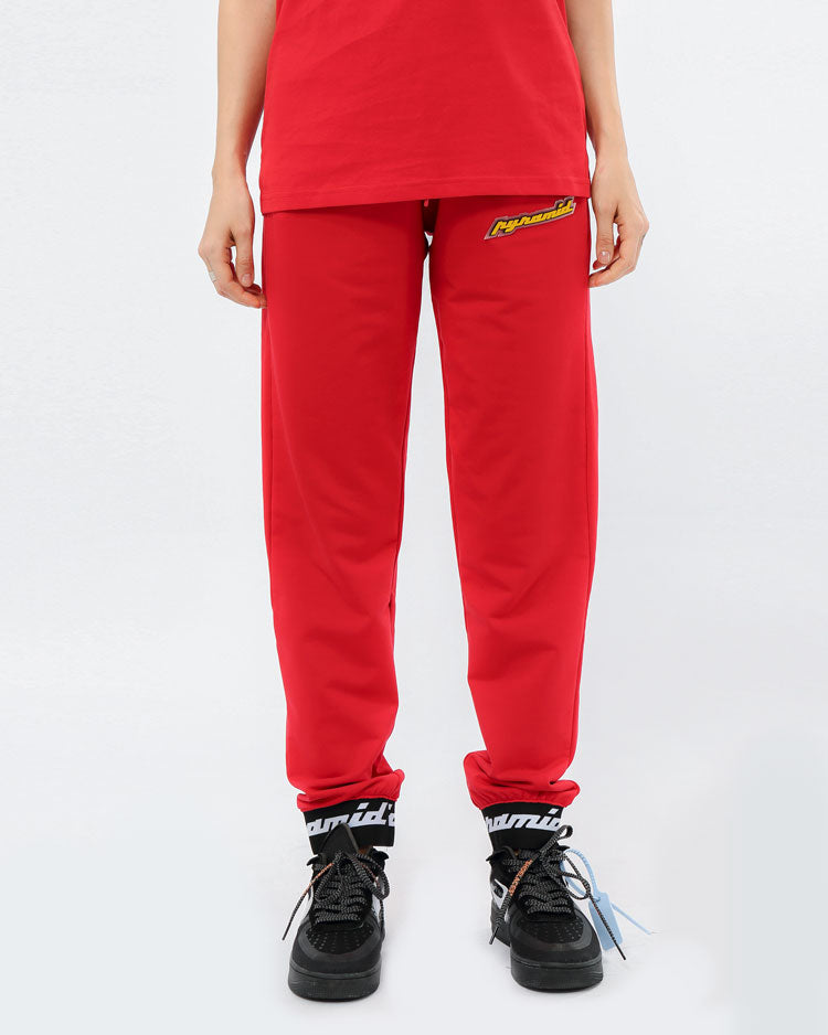 WOMEN CORE 3D RUBBER PATCH JOGGERS-COLOR: RED