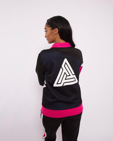 WOMEN PYRAMID RACEWAY COLORBLOCK TRACK JACKET-COLOR: BLACK