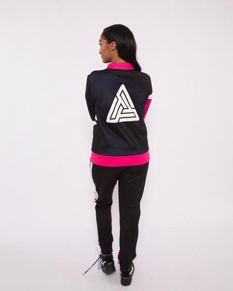 WOEMN PYRAMID RACEWAY COLORBLOCK JOGGERS-COLOR: BLACK