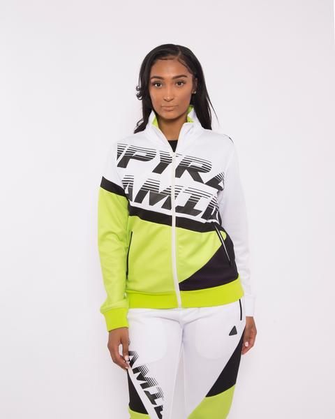 WOMEN PYRAMID RACEWAY COLORBLOCK TRACK JACKET-COLOR: WHITE