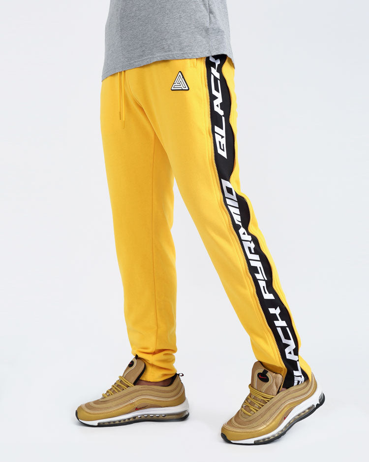 ZIP PANEL PANTS-COLOR: YELLOW