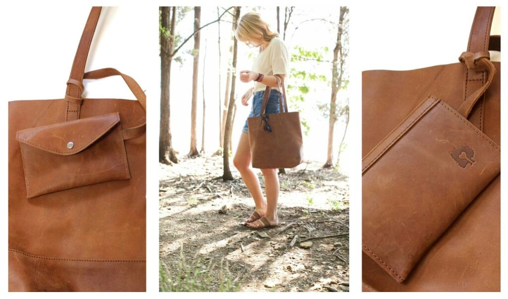 Mamuye Leather Tote w/ pouch |livefashionABLE.com