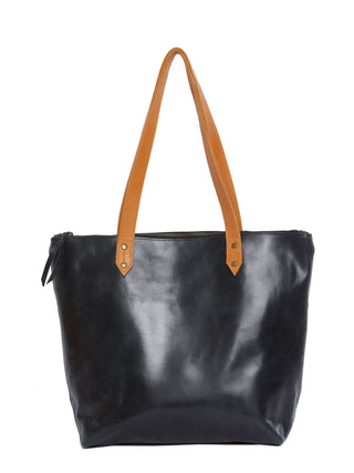 Chaltu Top Zip Rivet Tote - Black/Cognac