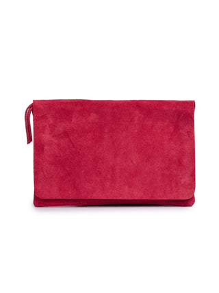 Mare Zip Clutch - Deep Raspberry Suede