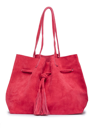 Maria Tassel Shopper - Deep Raspberry Suede