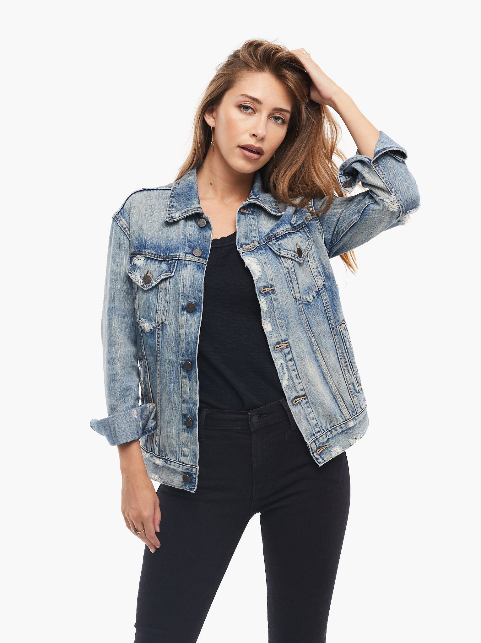 M Blogger Fave Blue Distressed Denim Ripped//Frayed Fitted Fashion Jacket S L