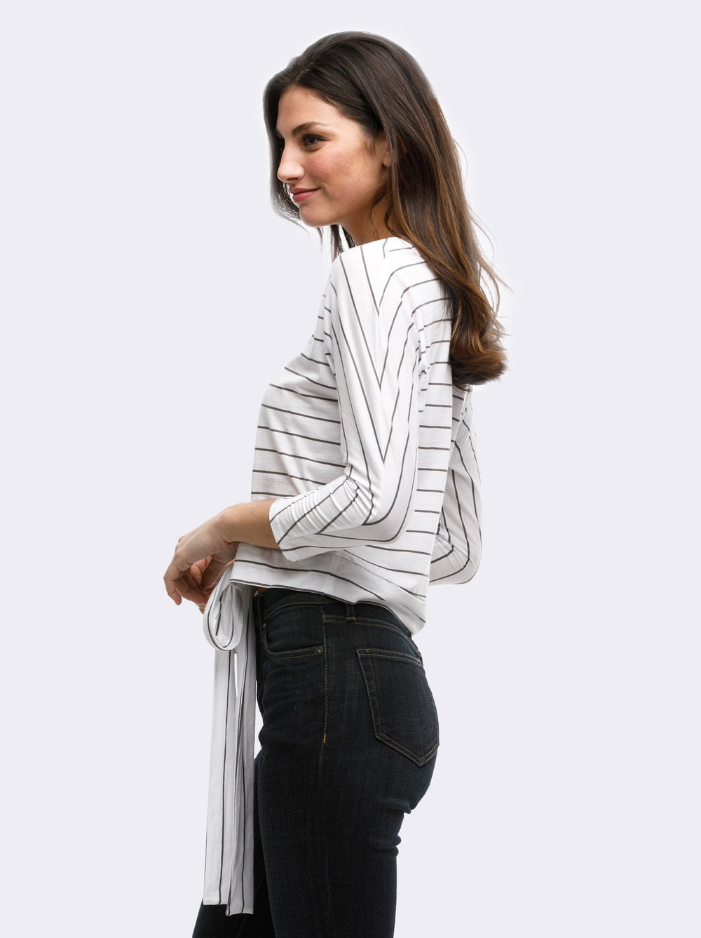 Lifestyle - White w/ Charcoal Stripes
