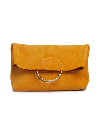 Fozi Foldover Clutch - Yellow Nubuck