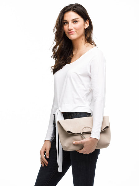 Fozi Foldover Clutch Leather