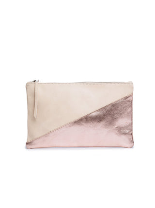 Martha Pouch - Medium - Bone/Rose Gold Metallic
