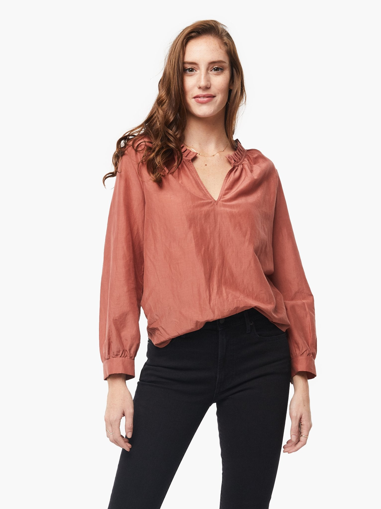 Sylvia Ruffle Neck Blouse