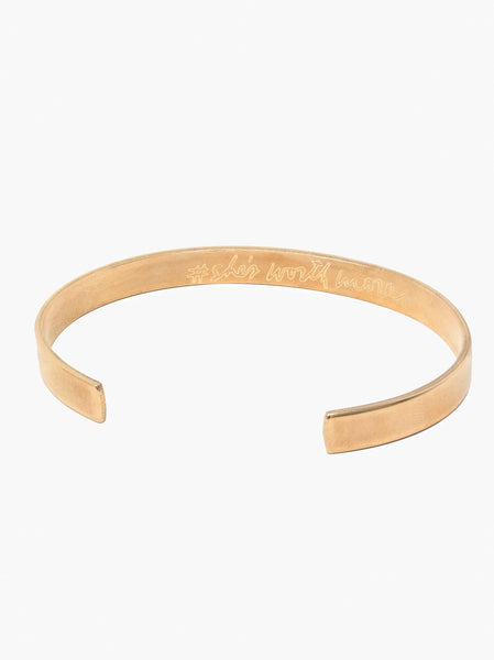She's Worth More Engraved Cuff FASHIONABLE