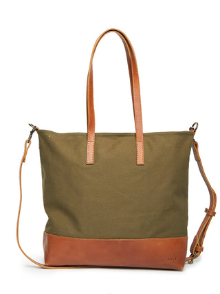 Abera Crossbody Canvas - Olive Canvas/Chestnut