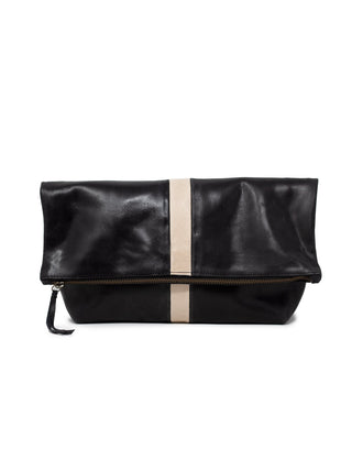 Foldover Emnet Clutch - Black/Bone
