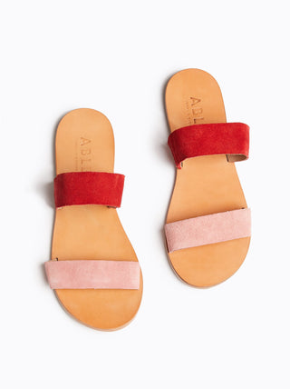 Joselyne Double Strap Sandal - Red/Rose Suede