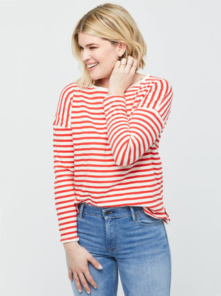 Olga Breton Striped Tee - Ivory/Red Stripes
