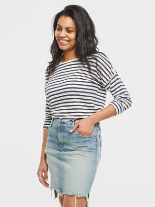 Olga Breton Striped Tee - Ivory/Deep Navy Stripes