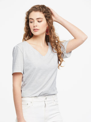 Palomino Relaxed V-Neck Tee - Cool Grey