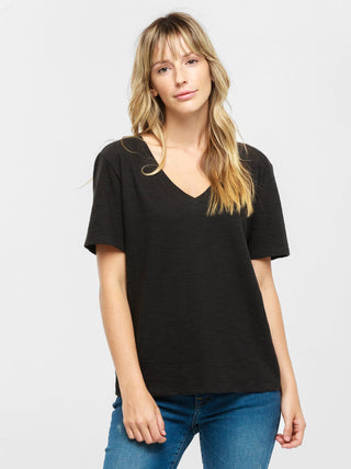 Palomino Relaxed V-Neck Tee - Black