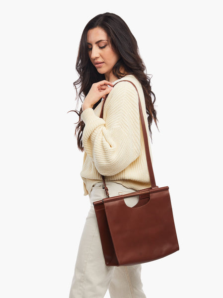 Frida Wooden Handle Crossbody FASHIONABLE Leather