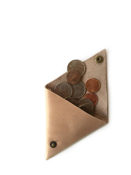 Triangle Coin Pouch Leather