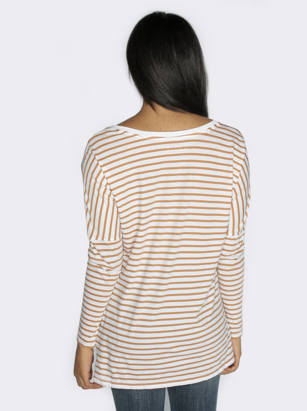 Lifestyle - White and Camel Stripe