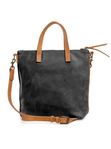 Black and Cognac Abera Commuter Leather Bag