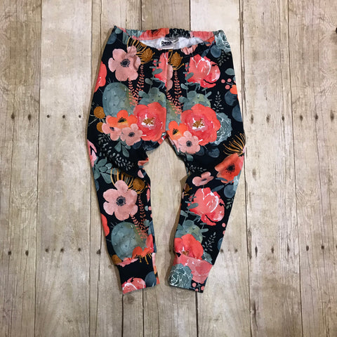 Navy Floral Bouquet Leggings