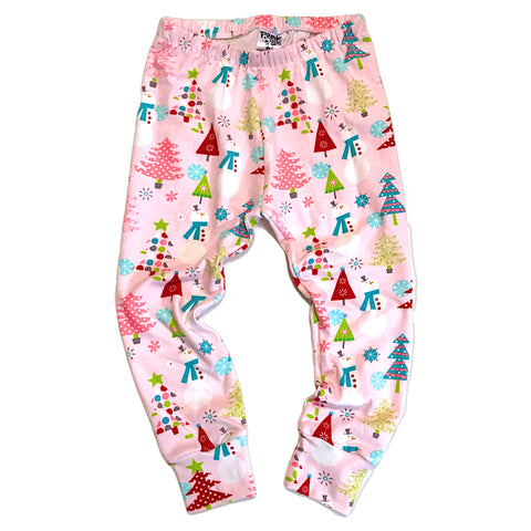 Pink Snowman Leggings