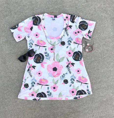Girls White Floral Tee