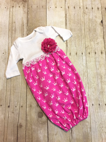 Pink Crowns Infant Gown